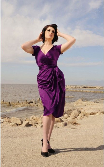 Rehearsal Dinner Dress: Ava Dress in Plum | Pinup Girl Clothing ...
