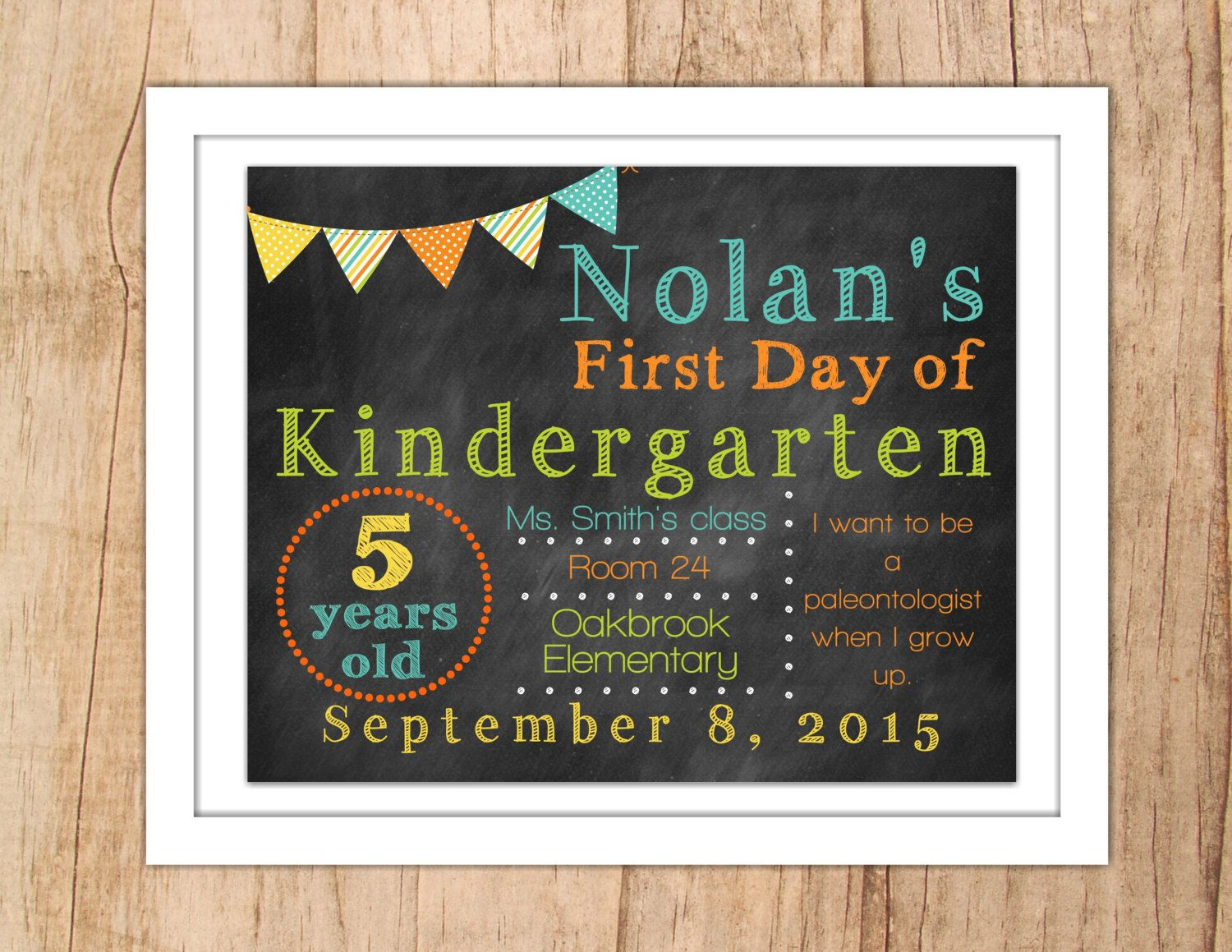 First Day of School Sign Last Day of School Personalized Chalkboard Printable Photo Prop Green Blue Orange Banner Any Grade JPEG or PDF file by MoonshyneDesigns on Etsy https://www.etsy.com/listing/238686731/first-day-of-school-sign-last-day-of