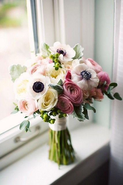 """I've seen this multiple times and I always say """"that's so pretty!"""" so I'm pinning it...Ranunculus and anemones."""