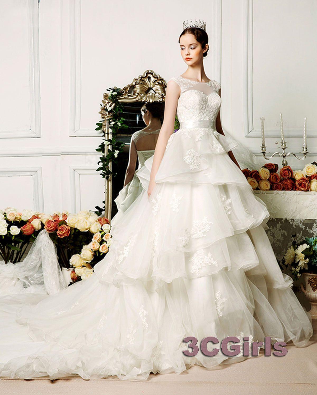 new princess custom size layer long tail wedding dress wedding