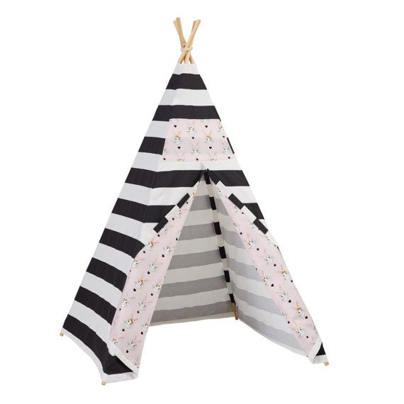 SO cute for Easter! SALE Black Stripe Bunny Teepee  Easter gift by LittleBraveOnes