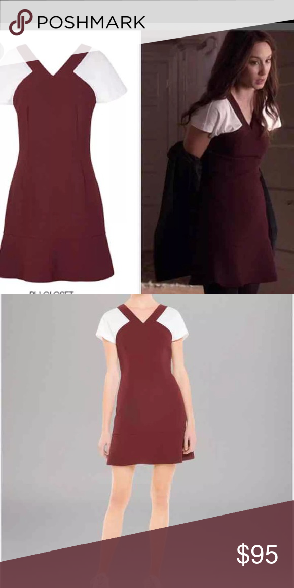 9abcfa85b85e Sandro Paris Dress Burgundy Bordeaux with white sleeves tshirt dress. The  maroon fabric is textured which is classic sandro
