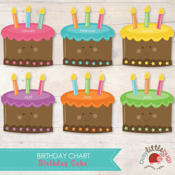 Birthday Cake Printable Birthday Chart For