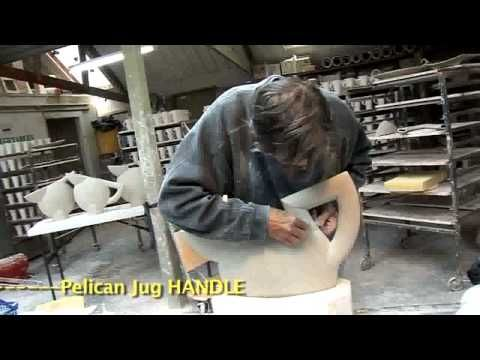 mold formed pelican jugs using a mold press and clay extruder