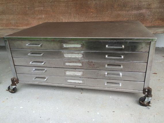 Free Shipping Vintage Flat File Cabinet Coffee Table On Etsy