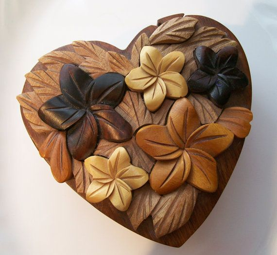Hand Carved Wooden Puzzle Box Heart Shaped By Noniseclecticshop 25 00 Wooden Puzzle Box Wooden Hearts Wood Carving