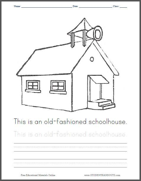 School House Coloring Pages | Old Fashioned Schoolhouse Coloring Page