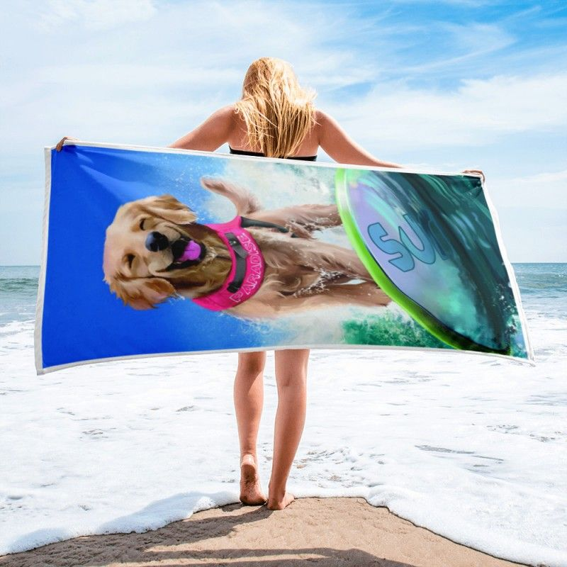 Serviette De Plage D Artiste Labrador Surfeur Grande Taille Kajenna Art Serviette De Plage Serviette De Plage Personnalisee Drap De Plage
