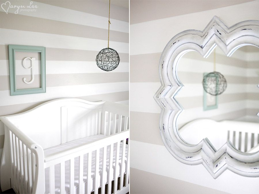grey, white and light blue nursery