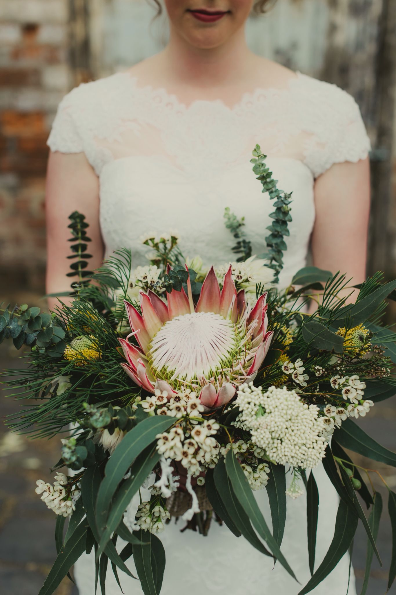 Australian native, protea, eucalyptus bridal bouquet