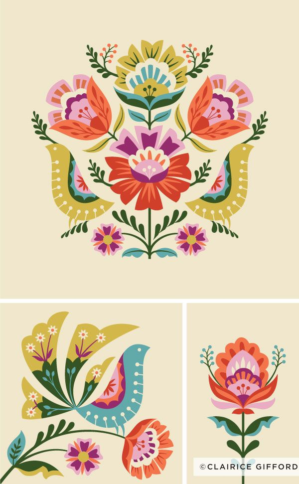 Floral Illustration Polish Folk Art Floral Illustrations Folk Art Flowers
