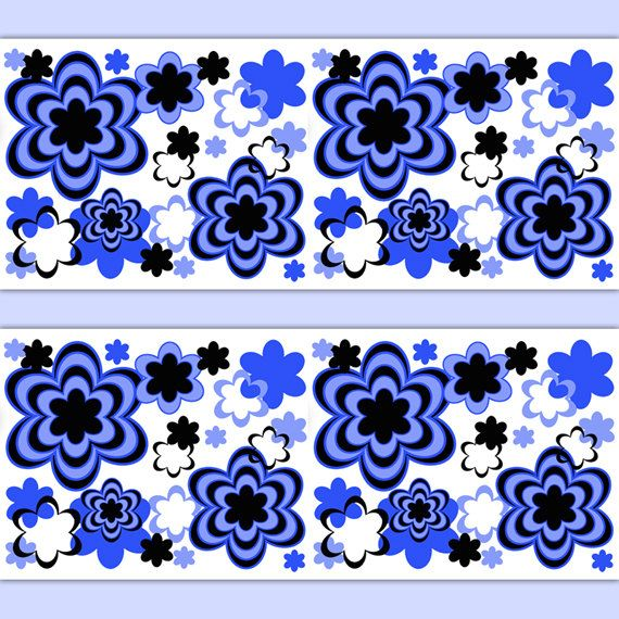 FLORAL WALLPAPER BORDER Decal Royal Blue Abstract Modern
