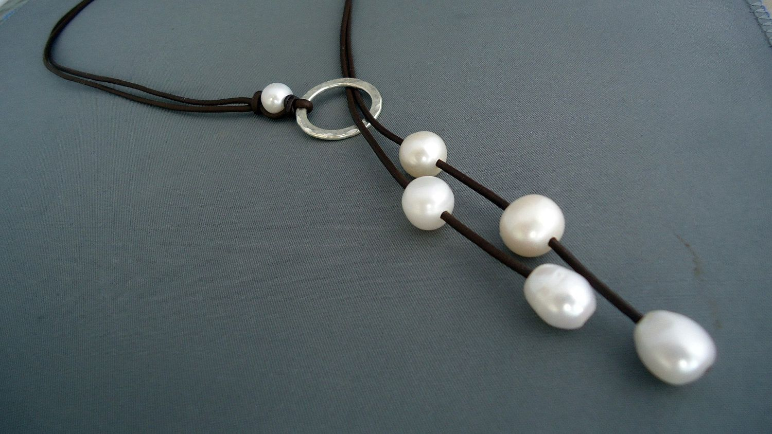 Leather and pearls Hammered sterling silver lariat by iseadesigns on etsy