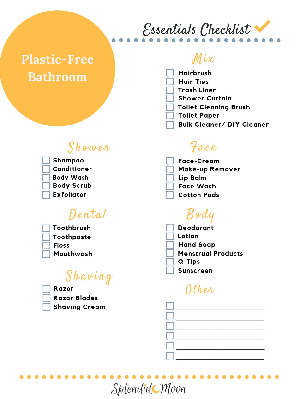 A Plastic Free Bathroom Essentials Checklist That Will