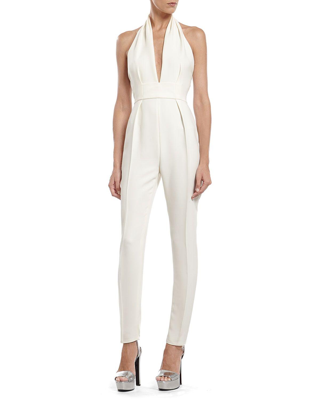 2197001ed02 Pearl White Silk Cady Jumpsuit   Jumpsuits   White silk, Jumpsuit ...