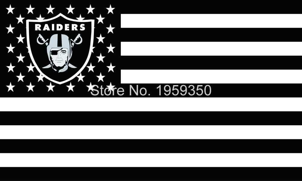 Los Angeles Oakland Raiders Flag Polyester 3 X5 Flag With Usa Flag Raiders Flag Oakland Raiders Oakland Raiders Logo