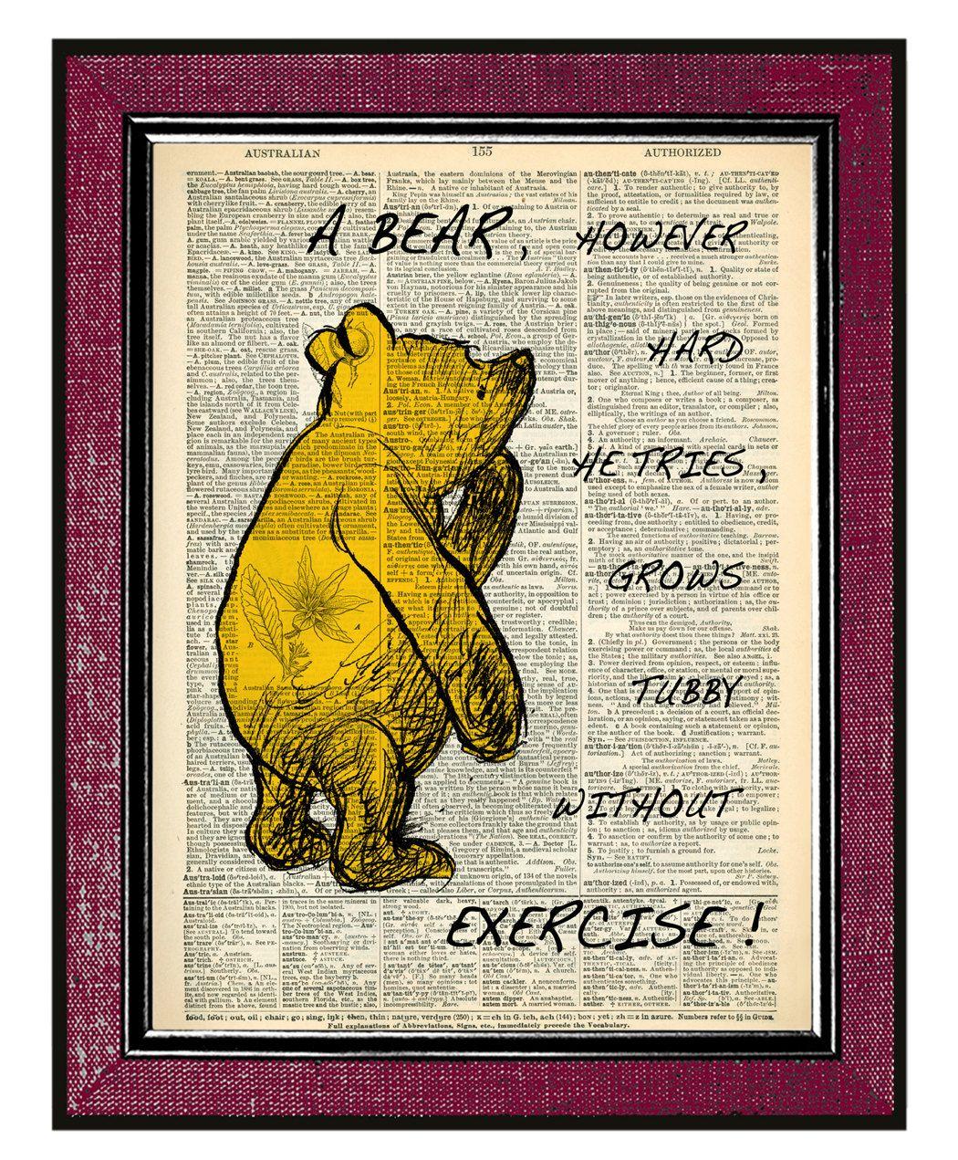 WINNIE The POOH Wall Decor Book Art Inspirational Quote. $10.00, via ...