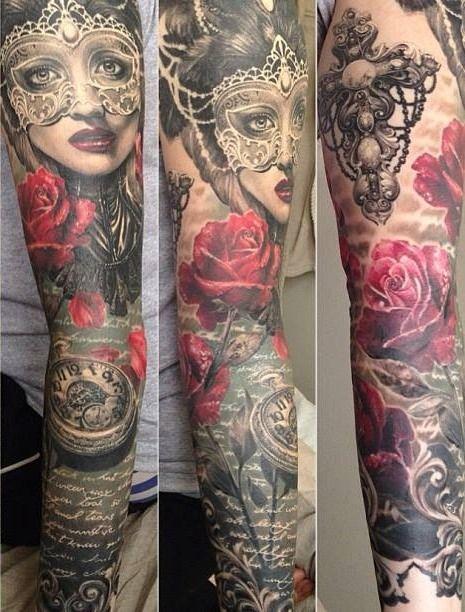 Realiste Tatouage Bras Complet Rose Portait Femme Et Boussole