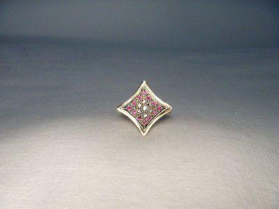 Gorgeous Antique Estate 14K Pink Gold Rose Diamond Ruby Filigree Ring