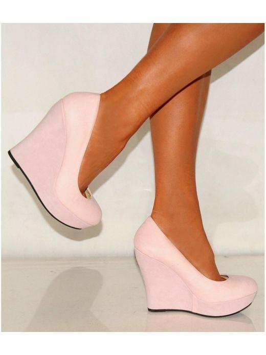 Ladies Pale Baby Pink Suede Wedges Platforms High Heels