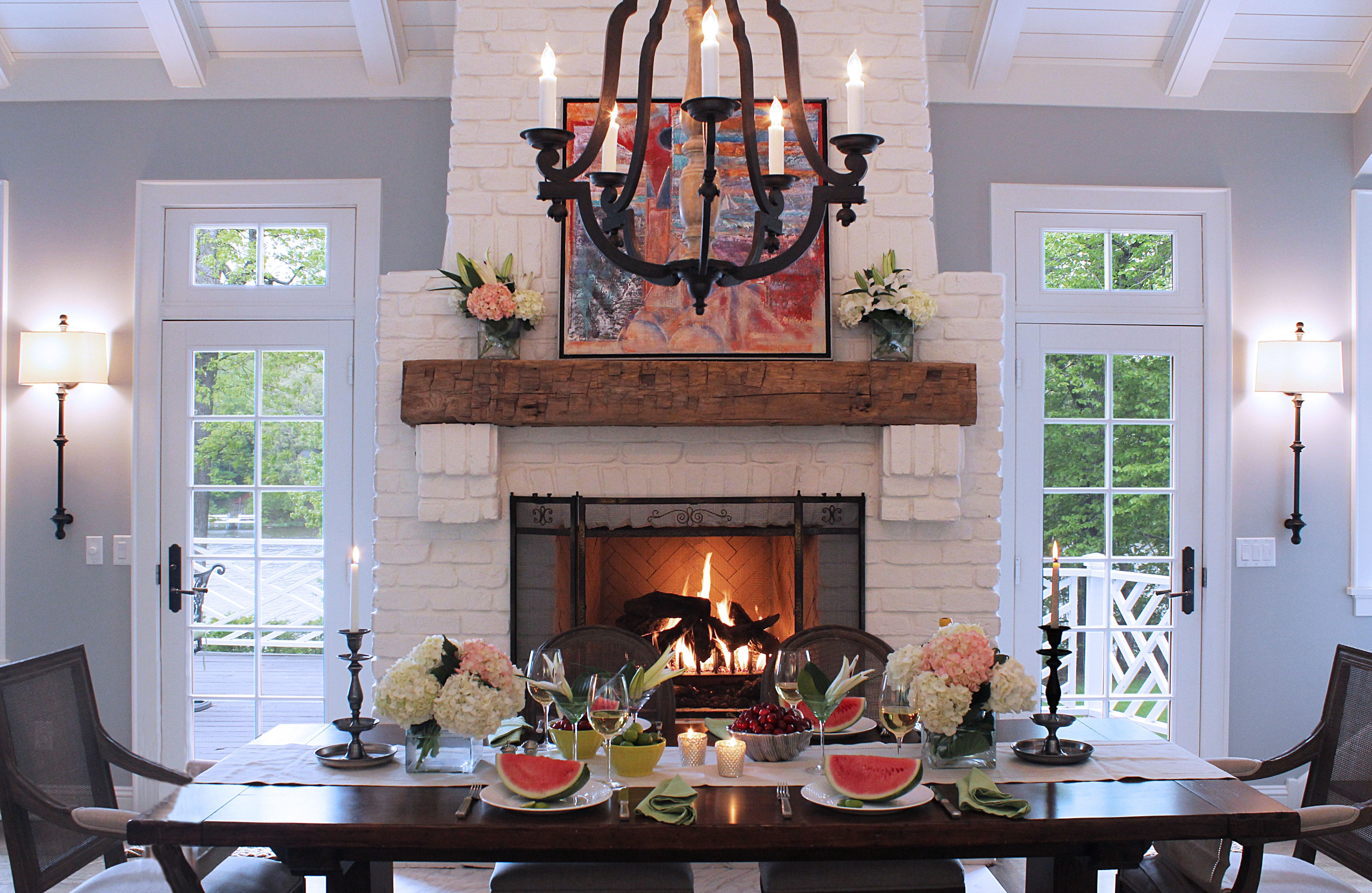 Breakfast Dining By The Warmth Of A Fire Great Mantel Fireplace White Brick