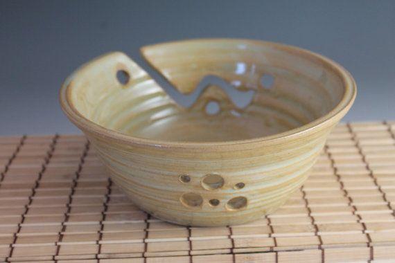 Knitting bowl  Handmade Pottery Yarn Bowl  yellow by NewDayPottery