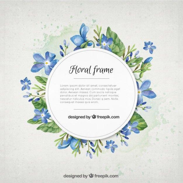 flores de color azul de la acuarela con el marco de las hojas ...