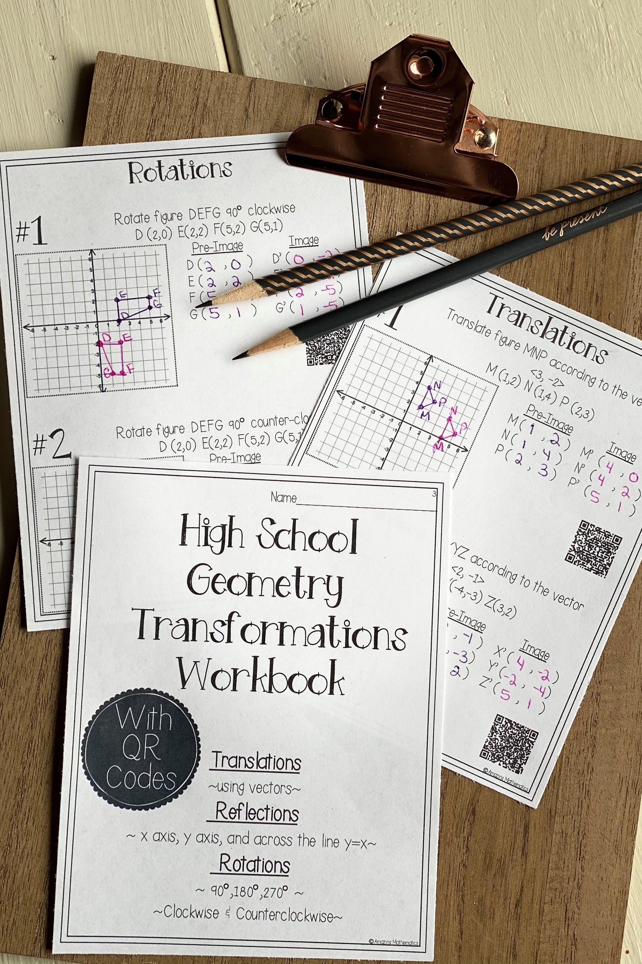 Hs Geometry Transformations Workbook Translations Rotations Reflections Hs Geometry Geometry Worksheets Workbook [ 3867 x 2578 Pixel ]