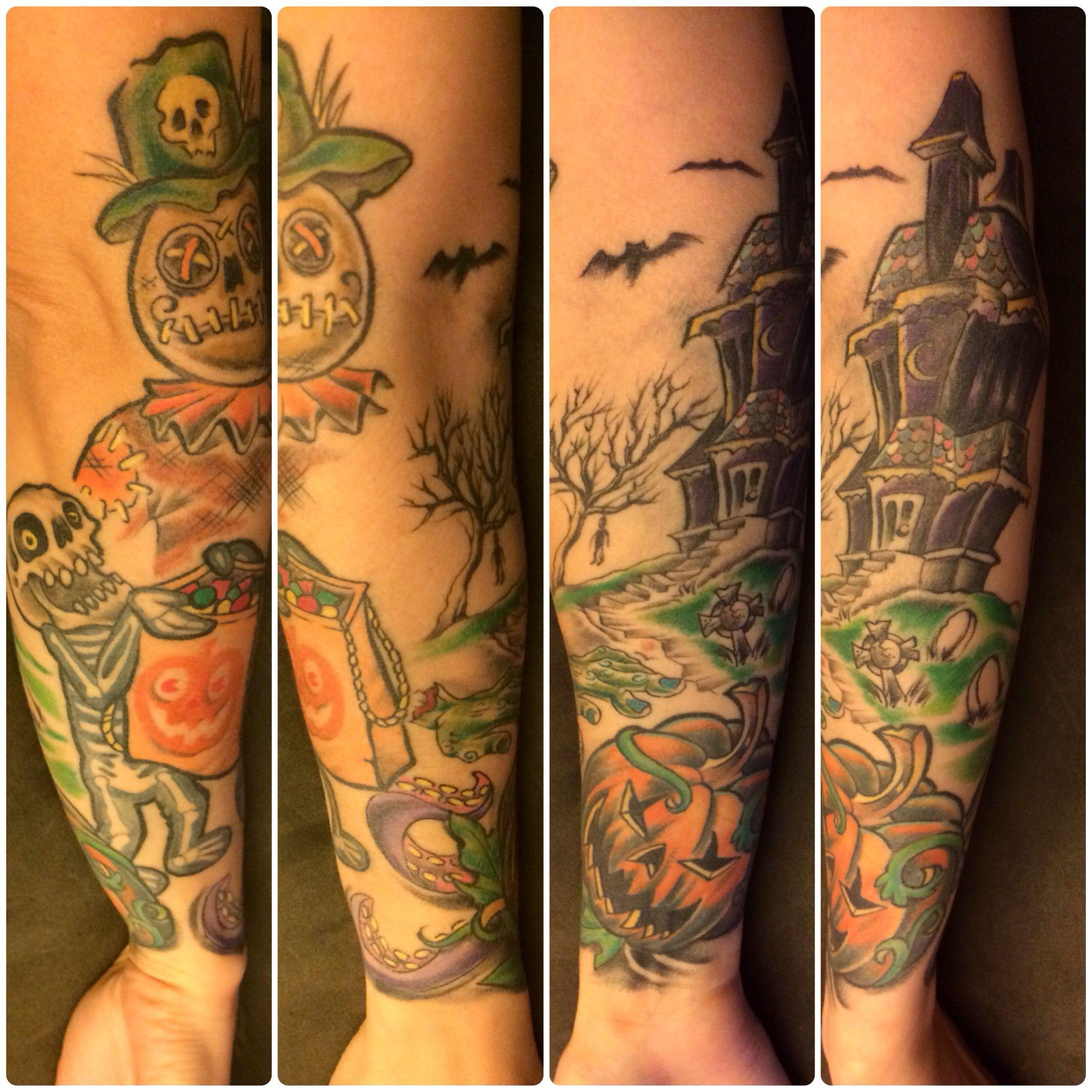 my halloween themed sleeve tattoo in progress. | tatz | pinterest