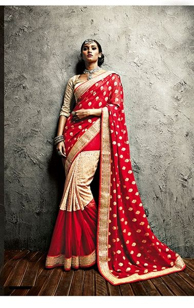 Sparkling Scarlet Red and Cream Color Saree for Wedding