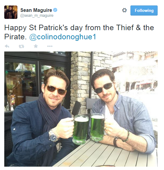Sean MaguireVerified account ‏@sean_m_maguire Happy St Patrick's day from the Thief & the Pirate. @colinodonoghue1