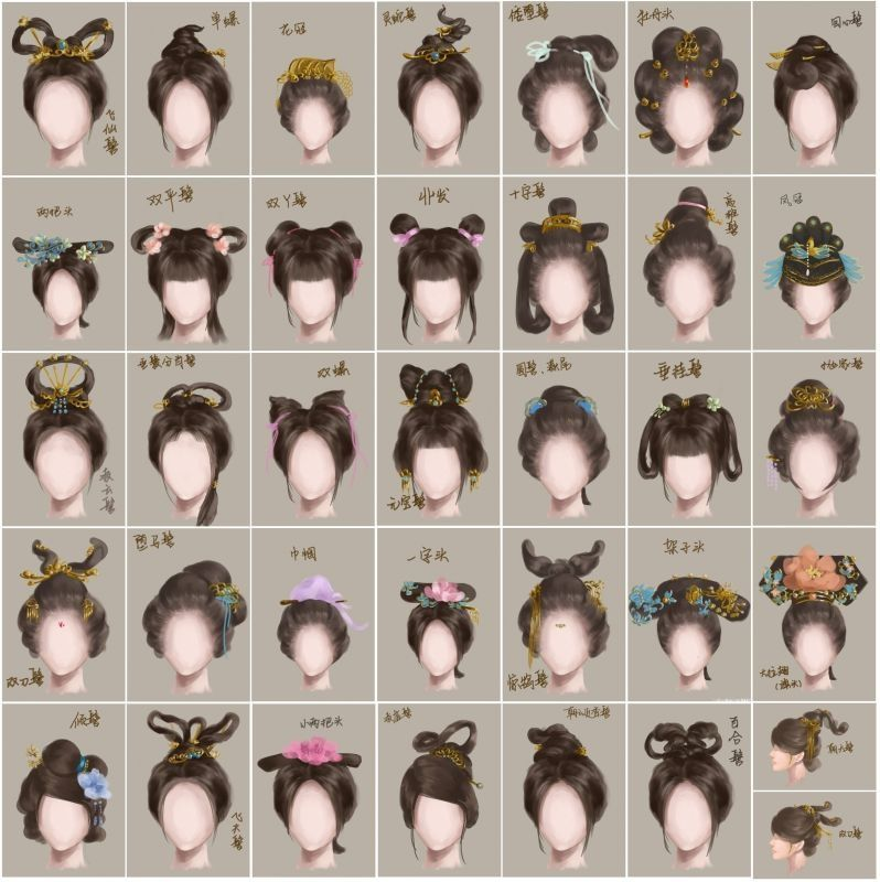 A Nice Size Chart To See The Details Of Different Hairstyles Ancient China