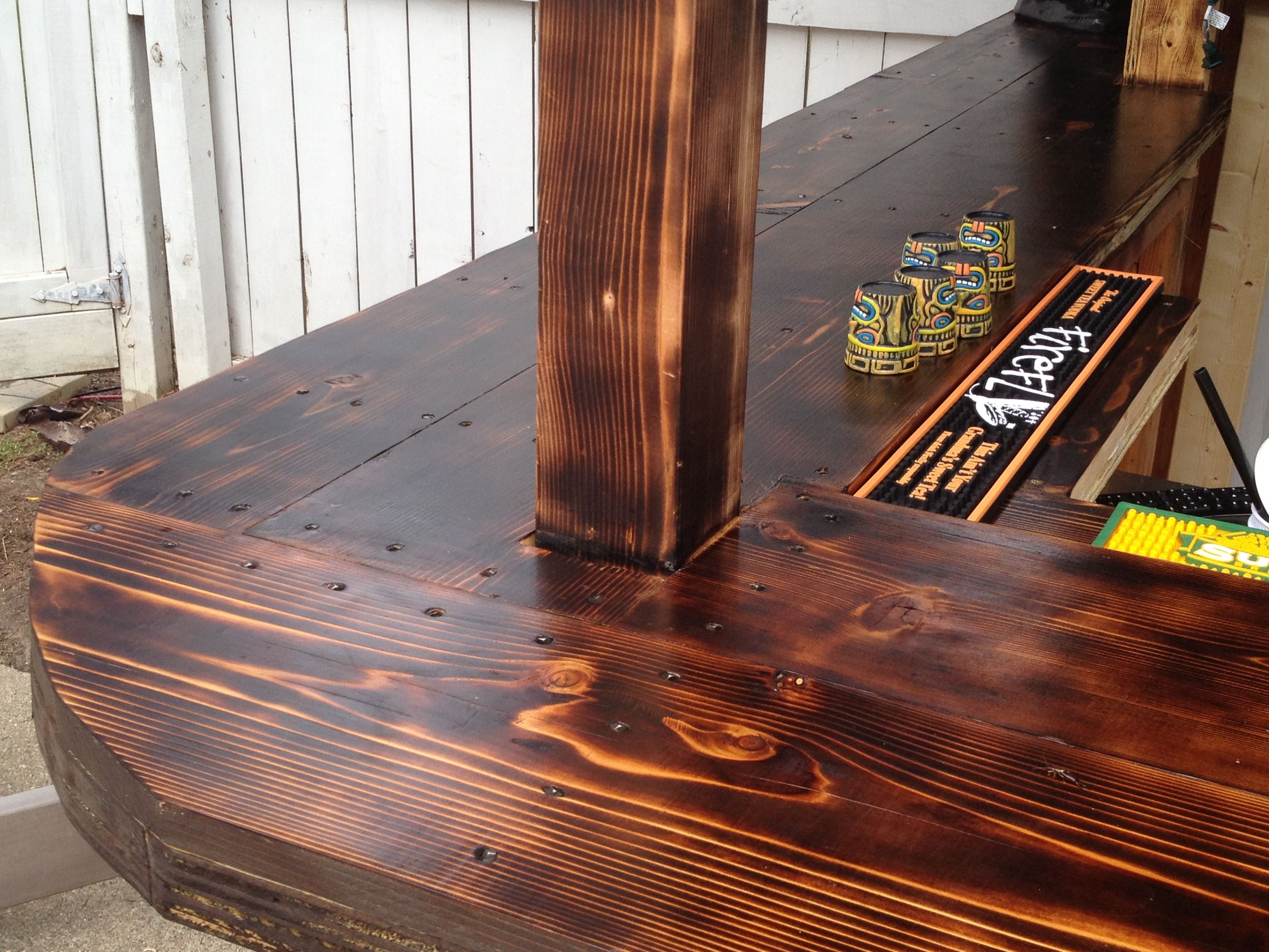 Incroyable Cedar Bar Top Attached With Rose Head Nails. Finished With Burned Cedar And  Spar Varnish
