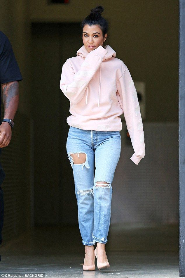 c71c784fe8da Look pretty in pastels with Kourtney's pink hoodie by Off-White #DailyMail  Click 'Visit' to buy now