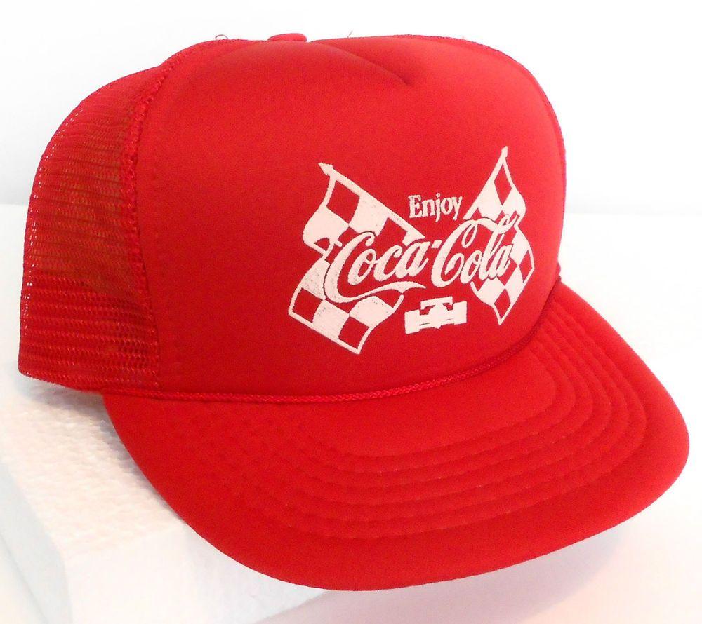 vtg rare COCA-COLA INDY RACING TRUCKER HAT Red Advertising Coke Snapback 500   AmaPro ab821ef39580