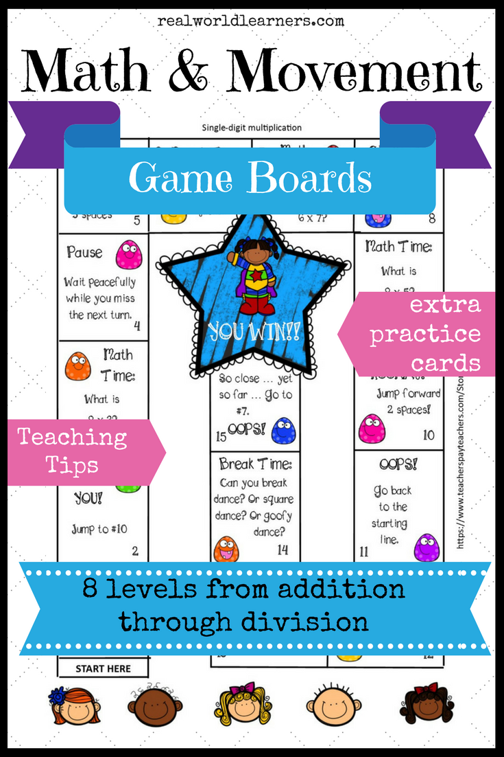 Math Game Boards for addition through division   Game boards, Math ...