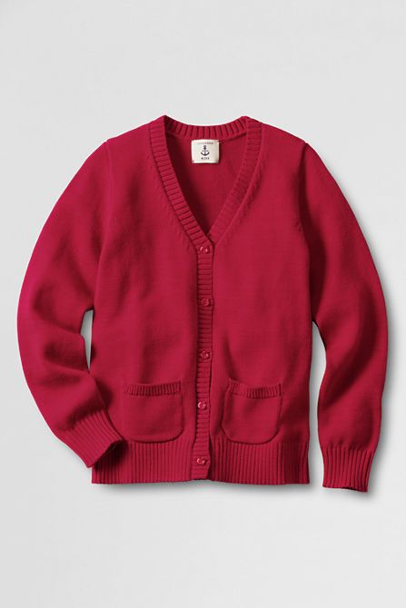 8b097f65bd2 School Uniform Girls  Button-front Drifter Cardigan Sweater from Lands  End