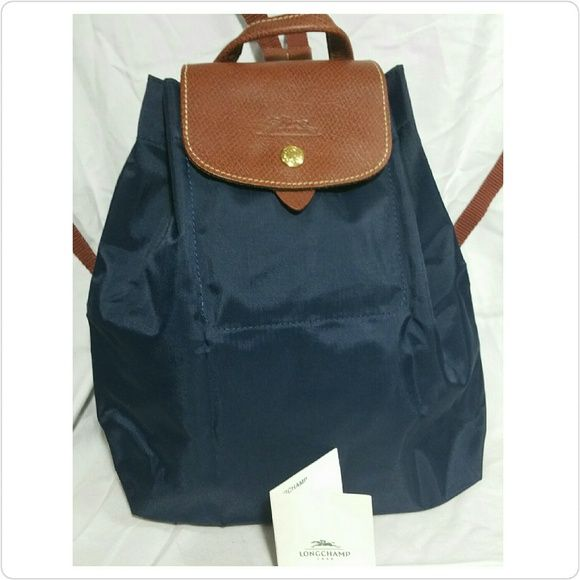 Low Price Light Longchamp Embroidered Backpack Deep Brown