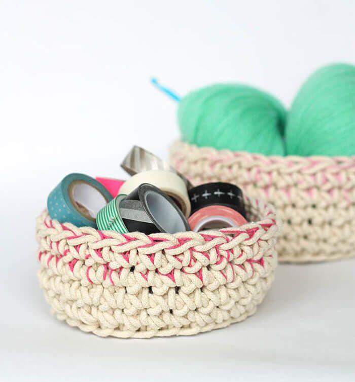 Color Block Crochet Baskets - Free Pattern