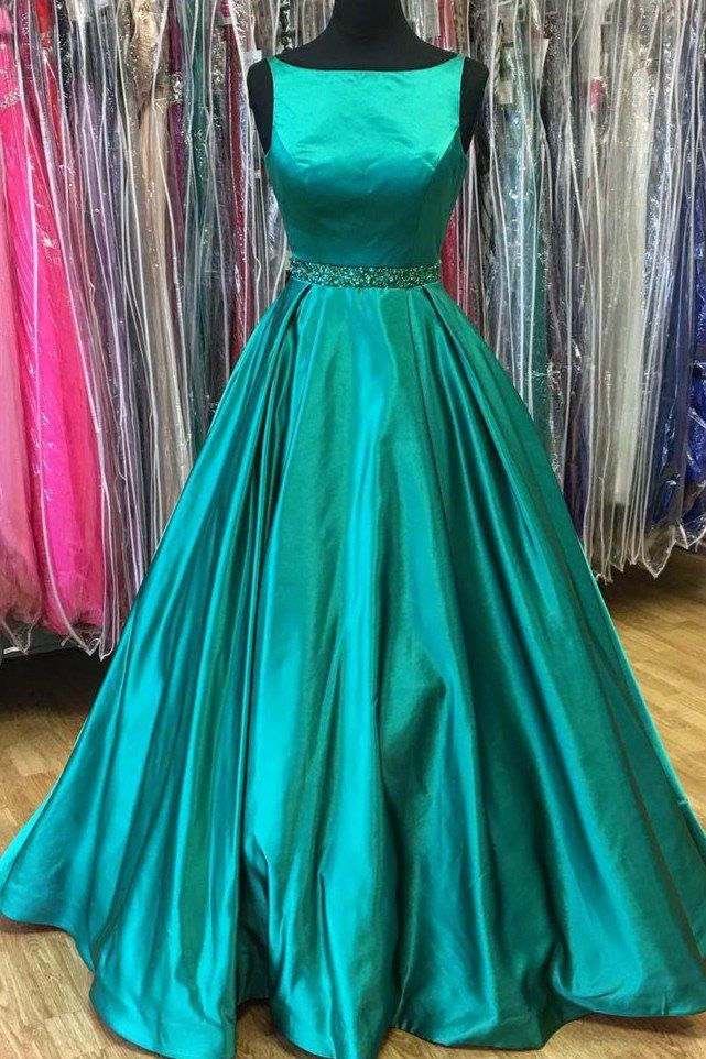 Green satins round neck A-line long evening dresses, plus size ...