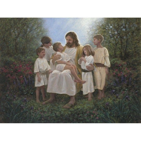 Jesus with the Children Digitally Printed Fabric Panel - 36in