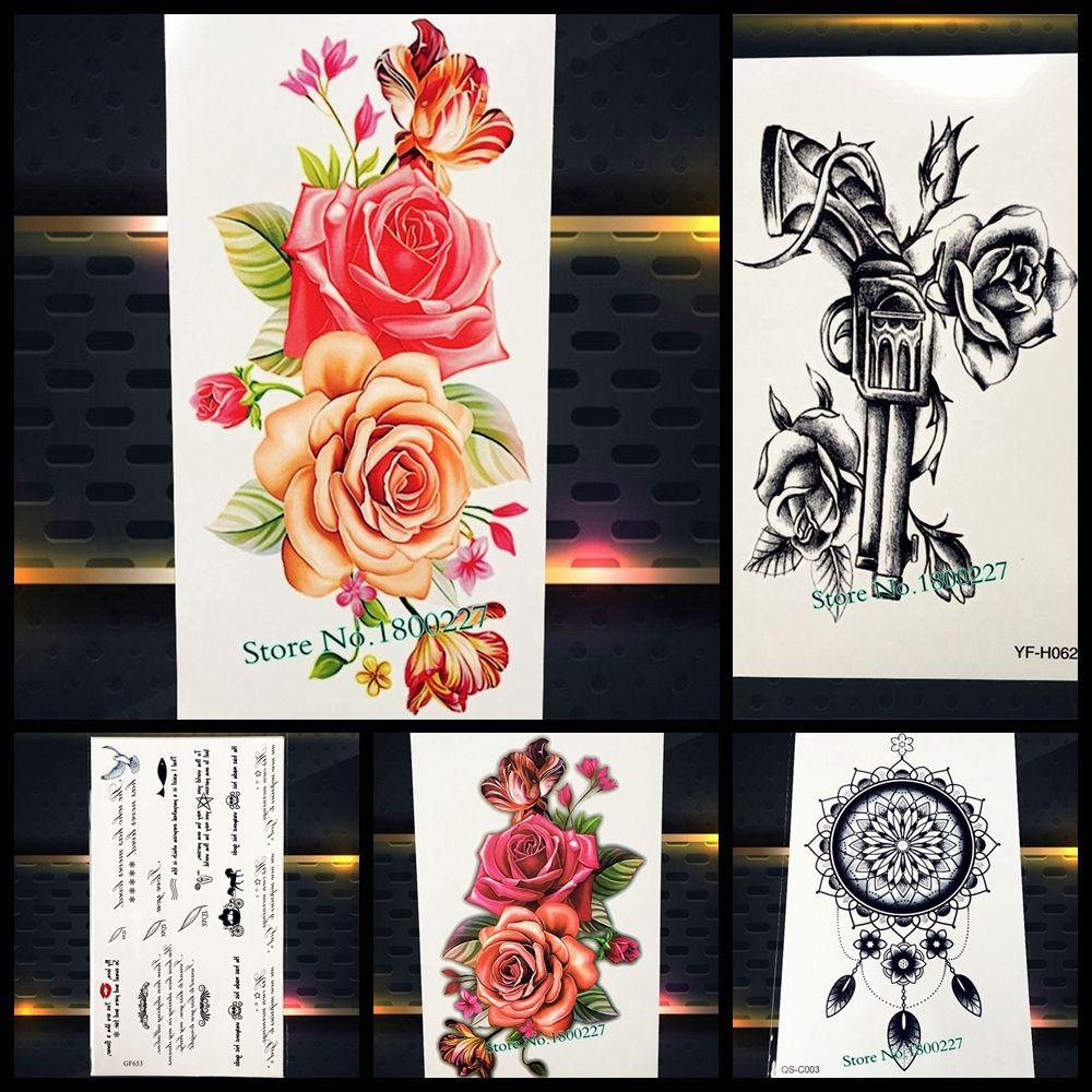 85586130e Women Sexy Rose Peony Flower Temporary Tattoo Indian Arabic Fake Waterproof Tattoo  Stickers arm shoulder Lady Makeup Flash Tatoo