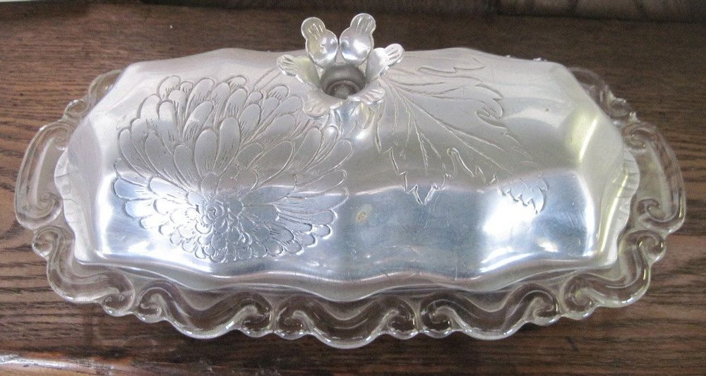 Vintage Fancy Glass And Aluminum Butter Dish 1950 1960 Glass And Aluminium Butter Dish Glass Dishes
