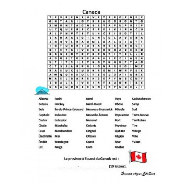 Mot Cache Sur Le Canada Learn French French Vocabulary Teaching