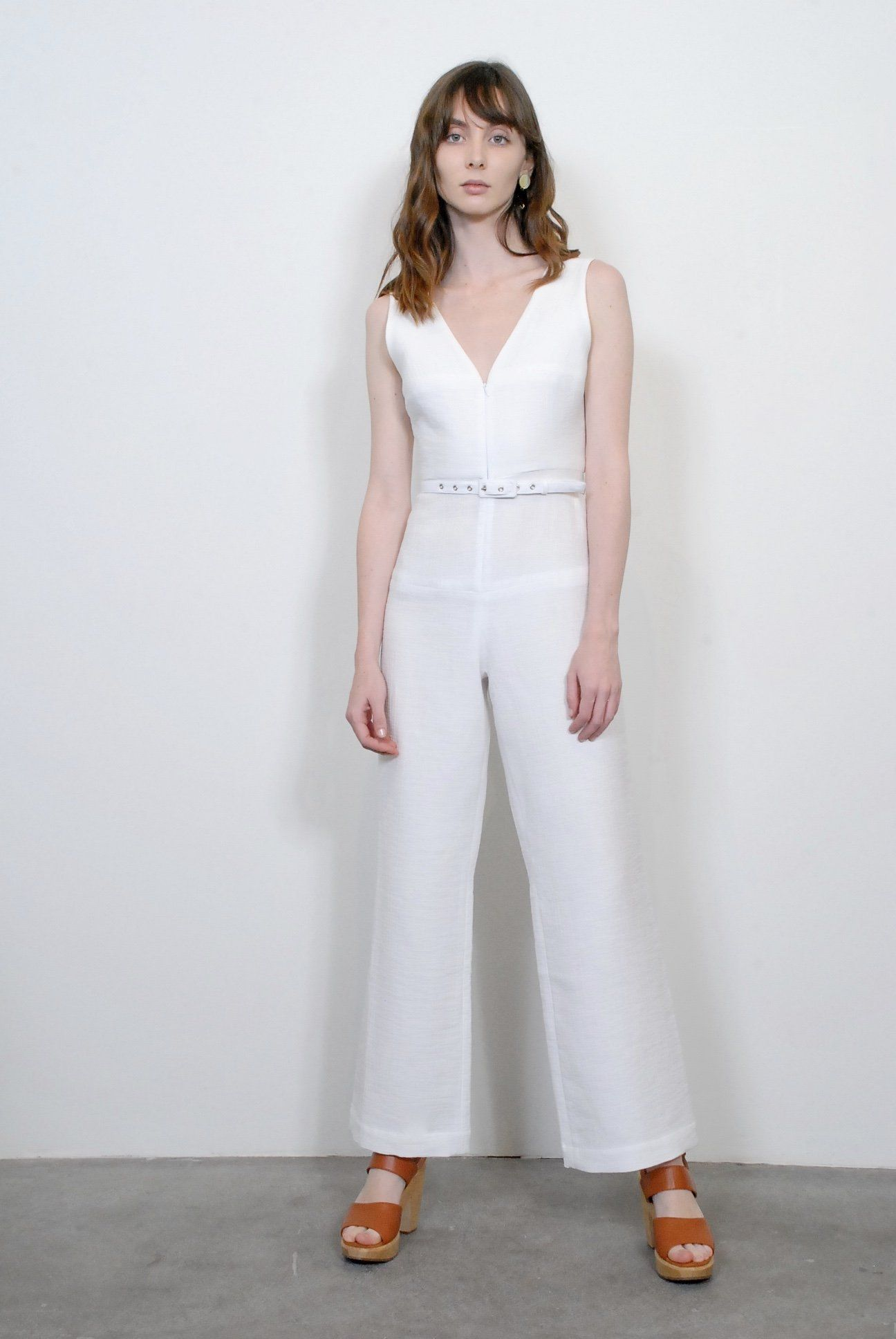 9f80675494d Rachel Comey Framework Jumpsuit in White. Sleeveless jumpsuit. V neck.  Square seams on