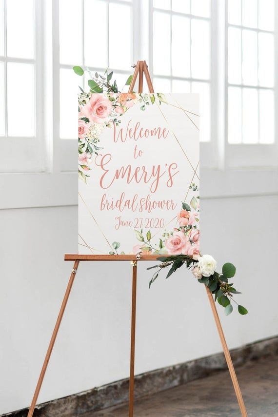 Geometric Rose Bridal Shower Welcome Sign, Floral Blush and Gold Bridal Luncheon Decor, Printable Option