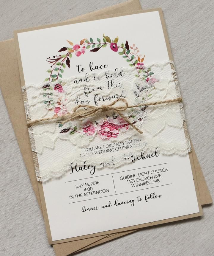 Bohemian Lace Wedding Invitation | Bohemian, Weddings and Rsvp