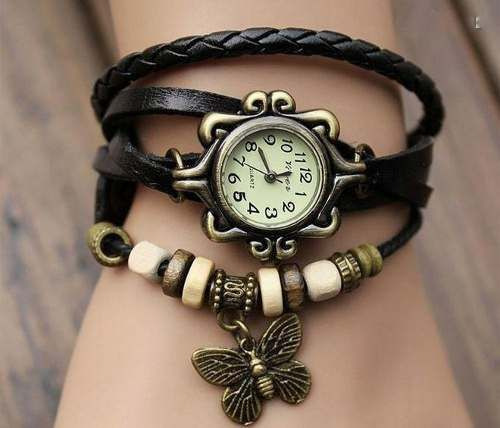 This #black #leather #wrapwatch is more comfortable that your everyday watch! It has 3 length adjustments, so that you can have it as tight or loose as you'd like. Stack it with other #steampunkbracelets for a great look you can build on!