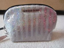 VICTORIA'S SECRET SILVER STRIPED BLING SPARKLE MAKEUP COSMETICS ZIP UP BAG NWT