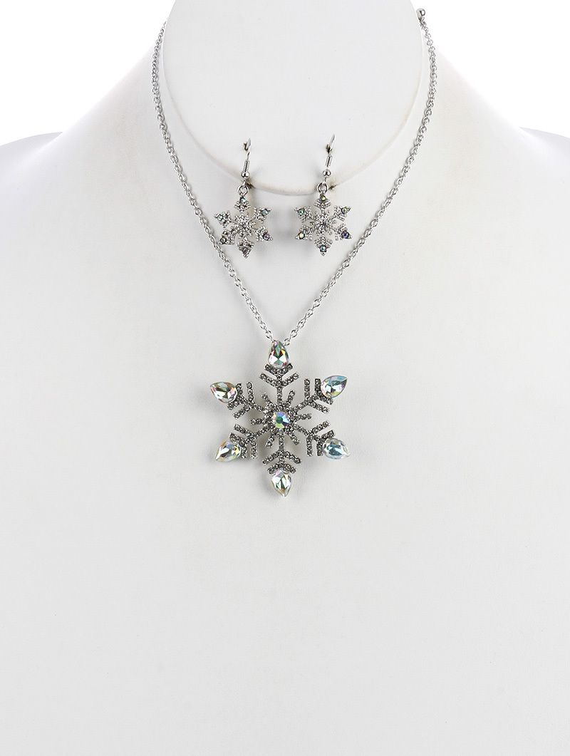 Arabella ave crystal stone metal snowflake pendant necklace and